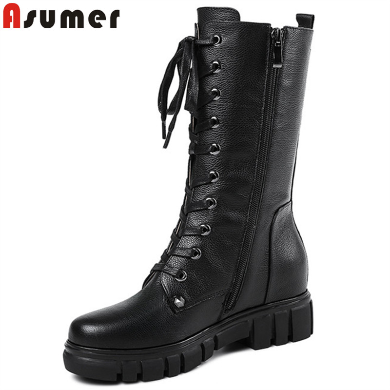 ASUMER black fashion 2018 new autumn winter boots round toe zip mid calf boots cross tied ladies genuine leather boots big size цена