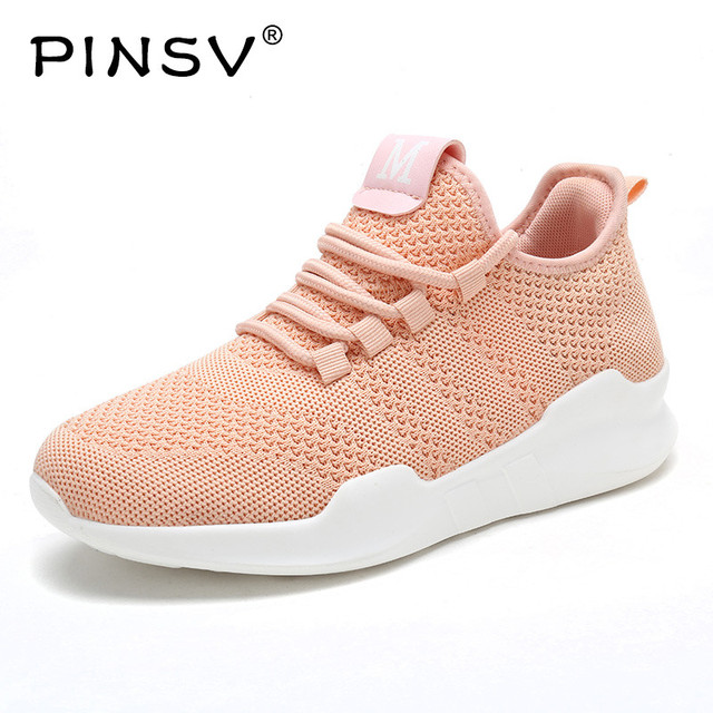 ecf15162ac PINSV Autumn Women Sneakers Height Increasing Women Fly Knit Casual Shoes  Lace-Up Women Shoes