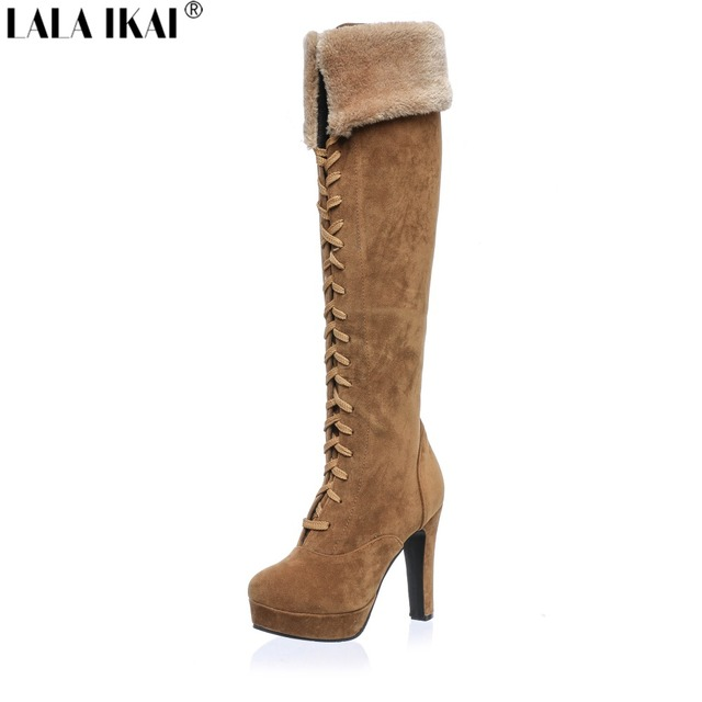 LALA IKAI Women Boots 2017 Plus Size 11 12 Flock Knee High Womens Winter Boots Lace-Up Ladies Boots Women Shoes Winter XWN0967-5