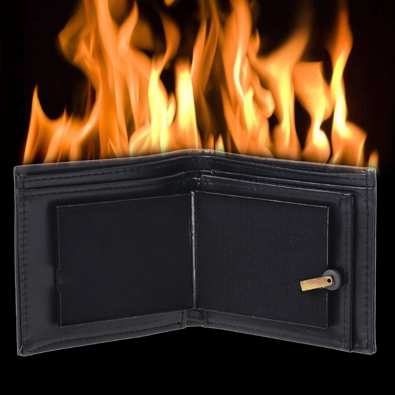 Flame Fire Wallet Magician Props Wallet PU Leather Funny Street Stage Fashion Show Profession Novelty Magic Trick-m22