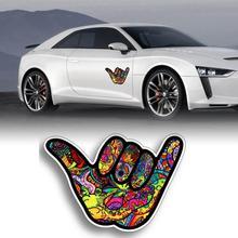 2Pcs Car Sticker Cartoon Graffiti Palm Personalization Innovative Fuel Tank Cap Sticker