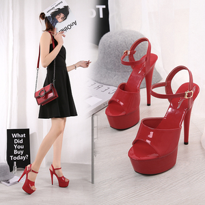 Image 1 - Sandals Shoes Woman Thin Heels Platform 2020 Beach Sexy Sandals Wedding Shoes Steel Tube Dancing Girl Stripper Shoes Open Toe