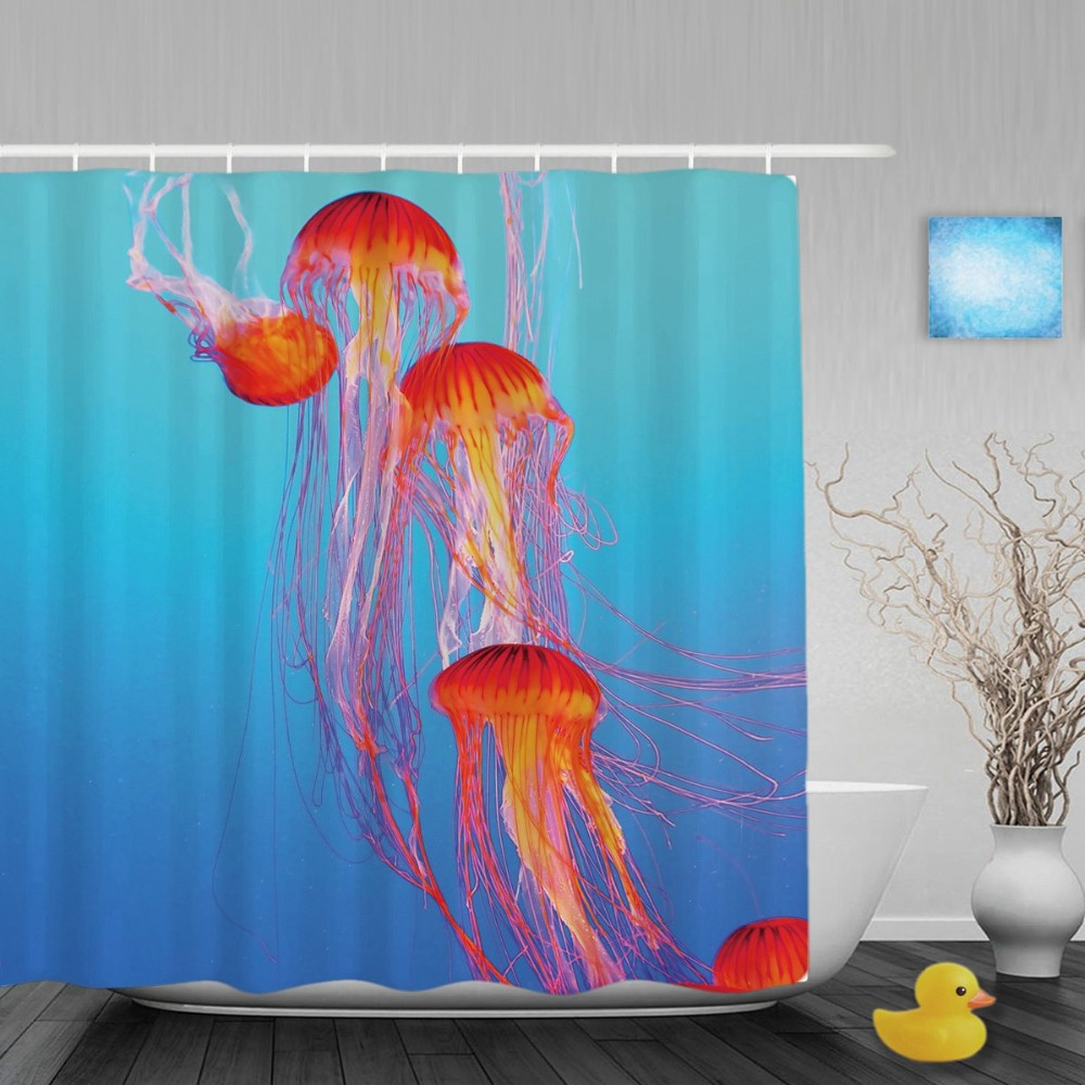 Orange Jellyfish Tentacles Bathroom <font><b>Curtain</b></font> Aquarium Bright Blue Water Shower <font><b>Curtains</b></font> Waterproof Polyester Fabric With Hooks