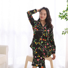 Mùa Xuân mới Casual 100% Tay Dài In Bộ Đồ Ngủ cho Nữ In Pyjama Bộ Phụ Nữ Nhật Bản của Pijama Mujer Quần Pyjamas