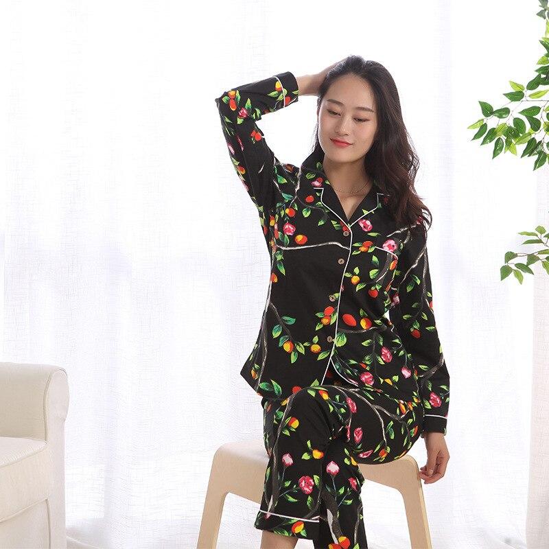 New Spring Casual 100% Cotton Long Sleeve Pajamas For Women Printing Pajama Set Women's Japanese Pijama Mujer Trousers Pyjamas