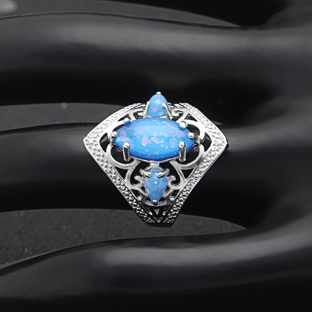 2018 New Design Vintage Finger Rings Luxury Blue Opal Rings For Charm Women Silver Color Filled Jewelry For Anniversary wedding in Rings from Jewelry Accessories