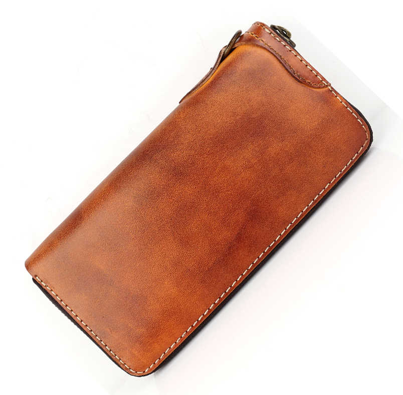 Luxury Handmade Genuine Leather Men Wallet Men Purse Leather Long Wallet zip-around Clutch Bag Male purse Women Wallet Money bag