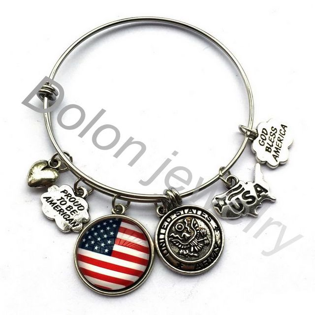 United States Army Charm Bangle Bracelet Wire Adjule Gift For Friends Or Family