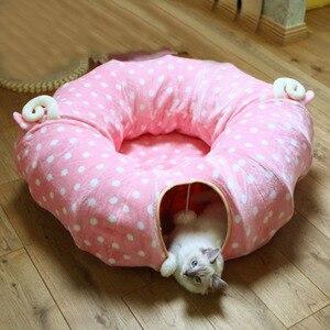 Image 3 - חתול Play צעצוע מנהרת מצחיק חיות מחמד מנהרת מתקפל בתפזורת קטן לחיות מחמד צעצועי ארנב חג המולד חיות מחמד מנהרת חתול מיטות בית שינה עם כדור