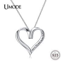 UMODE Charm 925 Sterling Silver Lettering Heart Pendant Necklace Women Bridal Wedding Jewelry Clothing Accessories Colar