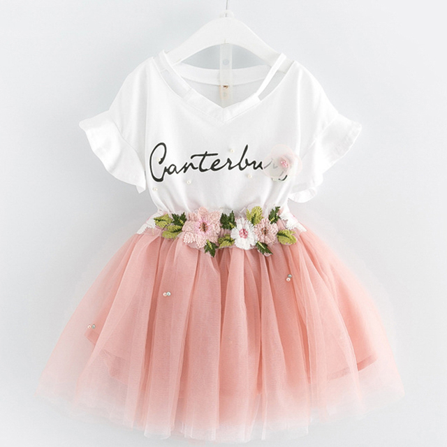 Girl Mesh Dress 2018 New Spring Dresses Children Clothing Princess Dress PinkWool Bow Design 2-8 Years Girl Clothes Dress