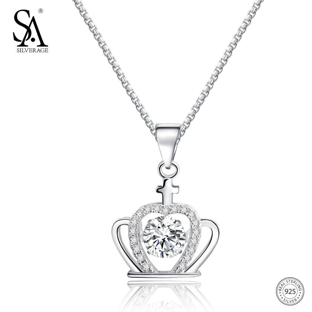 SA SILVERAGE 925 Sterling Dancing Diamond Necklace 2018 New Crown Unique Design Pendants Necklaces For Women Fine Jewelry SA SILVERAGE 925 Sterling Dancing Diamond Necklace 2018 New Crown Unique Design Pendants Necklaces For Women Fine Jewelry