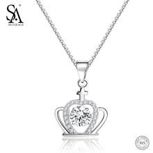 SA SILVERAGE 925 Sterling Dancing Diamond Necklace 2018 New Crown Unique Design Pendants Necklaces For Women Fine Jewelry