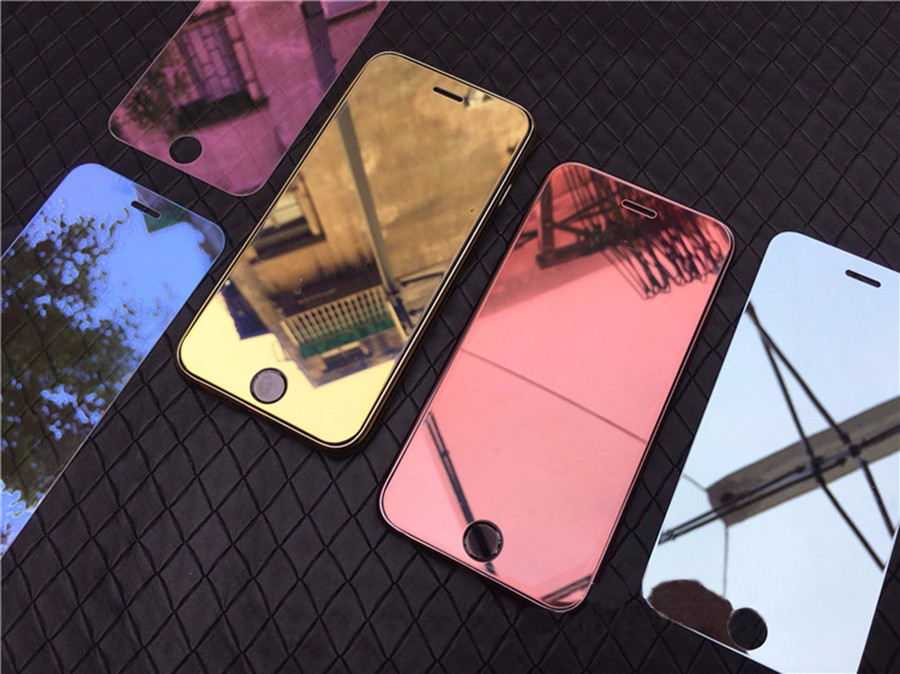 Dreamysow Luxury Mirror Tempered Glass for iPhone 7 7 Plus Colorful Full Cover Film 9H Protective Screen Protector Guard Case    - AliExpress