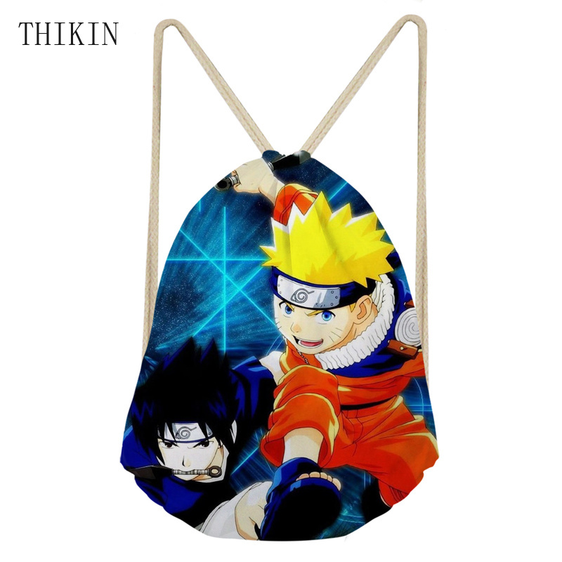 THIKIN Cool Anime Naruto Sasuke Custom Sports Swimming Bag College Students Backpack Waterproof Dry Bags Teenager Boys Kids