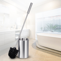 ANHO Long Handled Stainless Steel Toilet Brush Set Cleaning Brush With Base Plate Kit WC Bathroom
