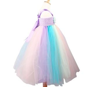 Image 3 - Girls Flower Unicorn Tutu Dress with Headband Pastel Rainbow Dress for Children Pageant Birthday Party Clothing Fairy Costume