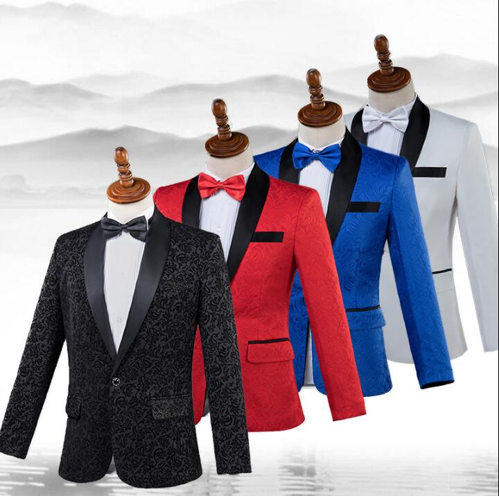 Singer star style stage coat men pattern suit set with pants fashion mens wedding suits costume mens formal dress tie S - 2XL