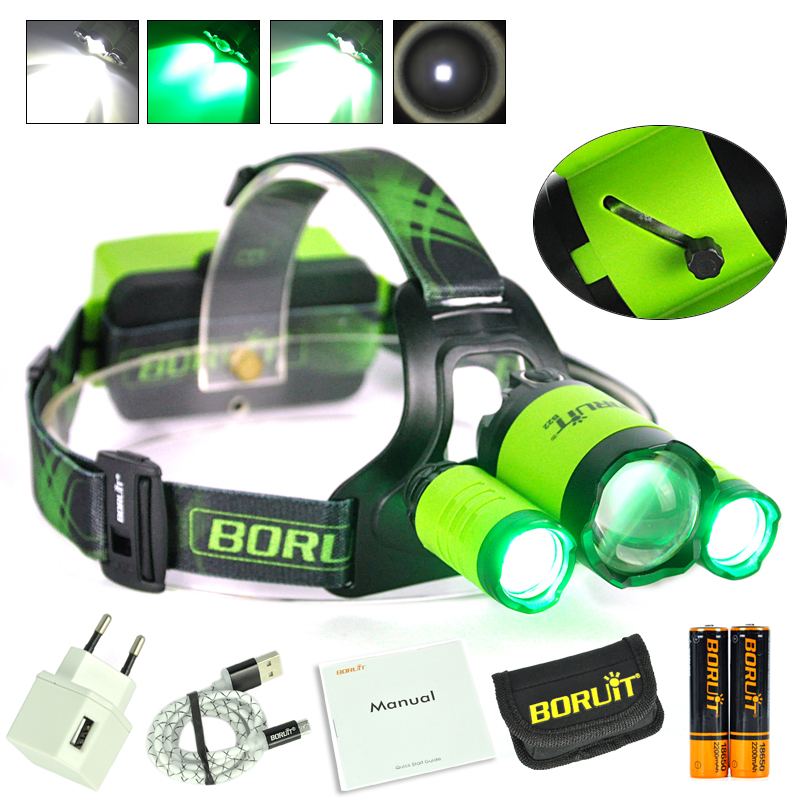 Boruit Cycling Headlamp Zoomable Cree XM-L2+2XPE Led Waterproof Green White Light Head Torch For Hunting+18650 Battery&Charger cree xml l2 led zoomable headlamp red green blue fishing 4 mode head lamp light torch hunting headlight 18650 battey usb charger