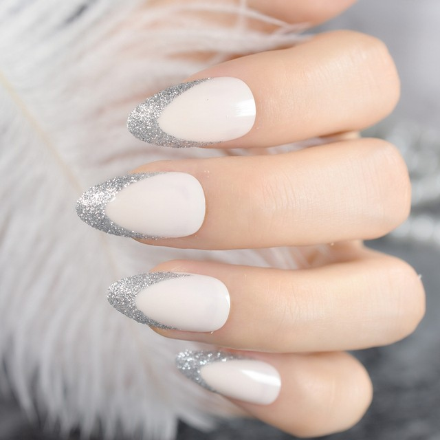 Online Shop Beige Almond Design Nail Tips Kit Glitter V Shape Medium