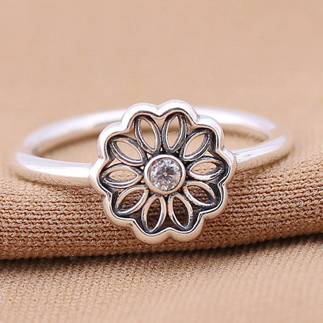 41571a4c3 ... low cost authentic 925 sterling silver pandora ring flower floral daisy  lace with crystal ring for