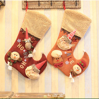 Christmas Stocking Sock Gift Bag Kids Candy Bag Hanging Xmas Tree Ornaments Christmas Decorations For Home Decor Party Supplies