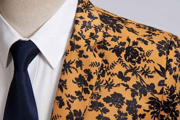 男性プラスサイズカジュアルブレザーオレンジ黒花柄スーツのジャケットスリムフィットウェディング新郎 Disfraz Hombre ステージ服