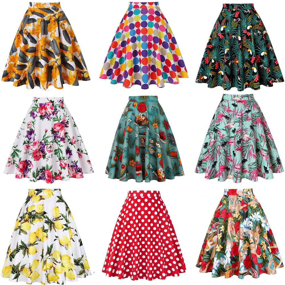High Waist Runway Pleat Skirt Black Knee Length Flared Skirts Retro Vintage 50s Rockabilly Swing Skirts Women Faldas Saia Jupe