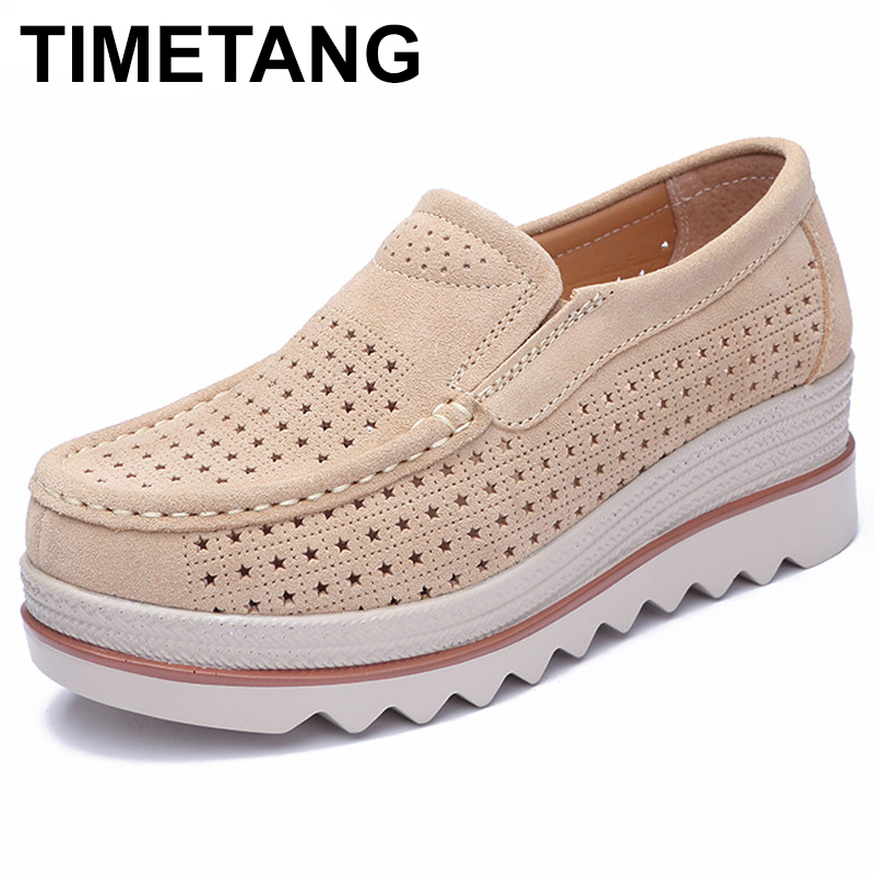 TIMETANG Women Shoes Cow   Suede     Leather   Flat Platform Air Mesh Woman Shoes Spring Autumn Loafers Moccasins Female Shoes E143