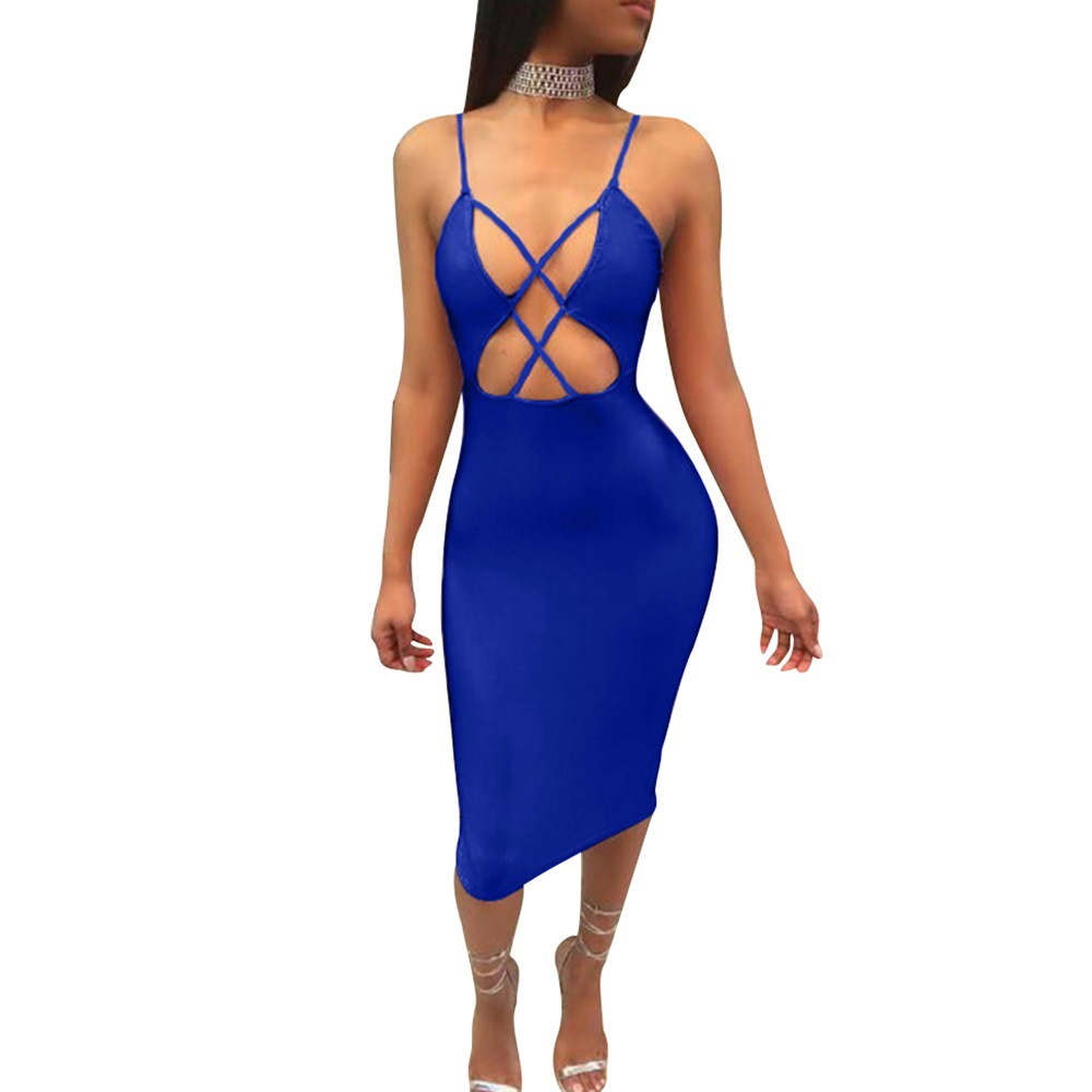 Sexy Lace Up Women Summer Dress High Waist Solid Color Vestiodos Bodycon Ankle-Length Dress