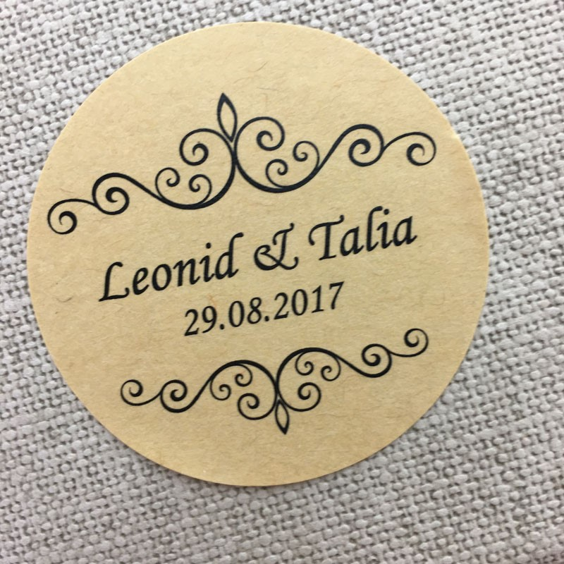 Custom 100 Pcs Personalized Wedding Stickers Party Invitation Decoration Clear Logo Kraft Paper Design Round Packaging Bag Label In Favors From Home