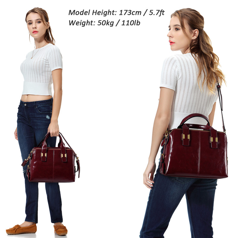 Image 2 - VASCHY Patent Leather Satchel Bag for Women Fashion Top Handle  Handbag Work Tote Purse with Triple Compartments BriefcaseTop-Handle  Bags