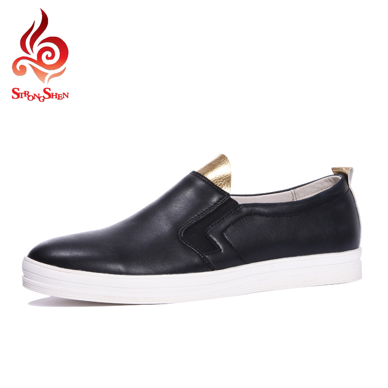 ФОТО 2017 New Men's Casual Shoes Fashion Slip-on Men PU Shoes Creepers Flats Leisure Shoes Breathable Loafers Moccasins Spring Autumn