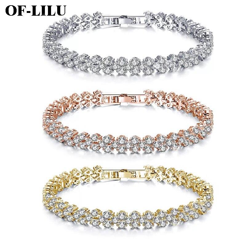 New Roman Rhinestone Natural Zircon Metal Chain Love Bracelet Jewelry Charm Gold Silver Rose Gold Bangles Ladies DIY Gift