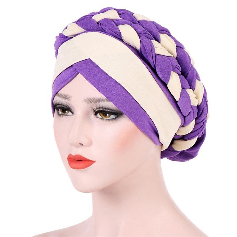 2018 Fashion New Women Hairbraid India Africa Muslim Stretch Turban Cotton Hair Loss Head Scarf Wrap Cap Casual Hot Sale #L26 (13)