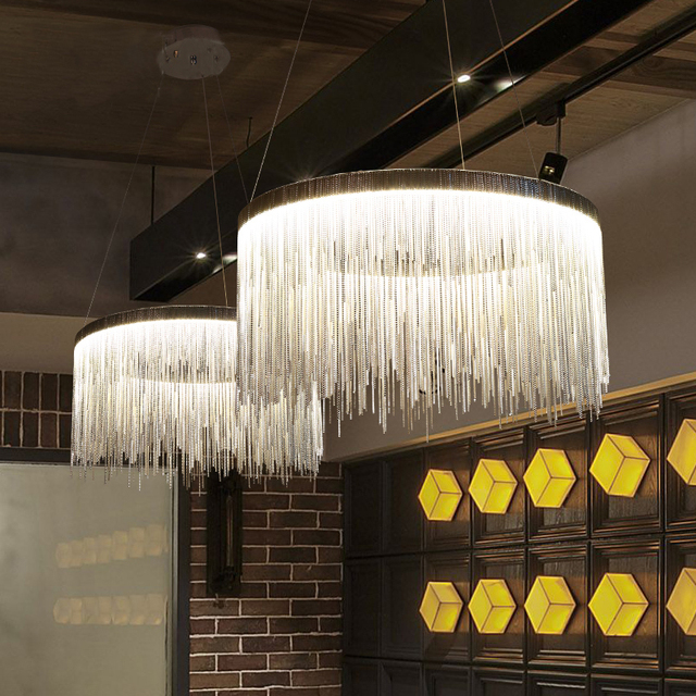 Aluminum Chain Round Chandelier Lights Nordic Style Tassel Lighting Modern Dinning Room Hanging Lamps