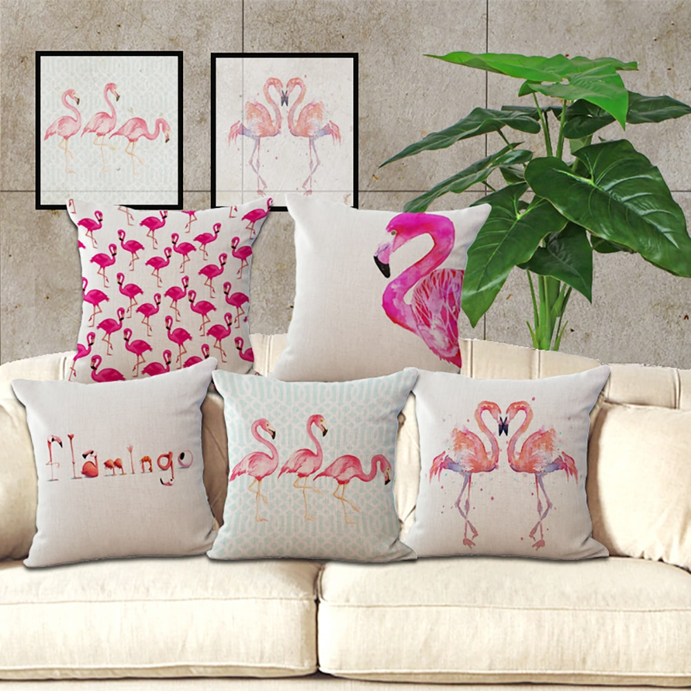 Polyester Flamingo Pillow Cases Home Hotel Pillow Cover Decorative Pillowcase Square Throw Pillow Cover 45*45cm High Quality