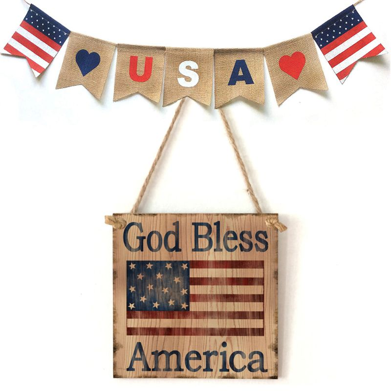 Wooden Hanging Plaque God Bless America Sign Board Wall Door Home Decoration Independence Day Party Gifts in Plaques Signs from Home Garden
