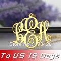 Envío libre-Collar Plateado Oro Del Monograma de Encargo 3 iniciales Monograma Placa de Identificación Del Collar Para EE.UU. 2 semanas