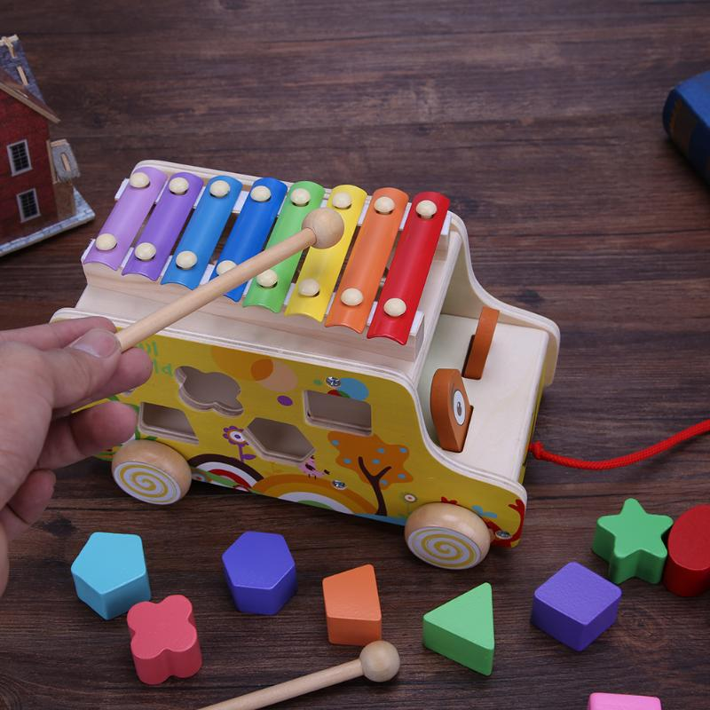 Cartoon Animals Musical Instrument Hand Knock Piano Trailer Kids Early Education Wooden Geometric Jigsaw Puzzle Musical Toy