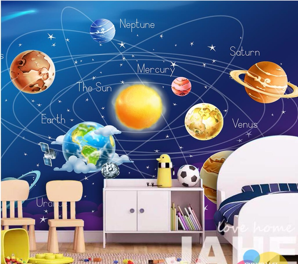 Custom mural 3d wallpaper Cartoon planet in the solar system home decor room painting 3d wall murals wallpaper for wall 3 d pure green mountain art wallpaper mural on the wall for kid s room wallpaper nursery room wall decor free shipping