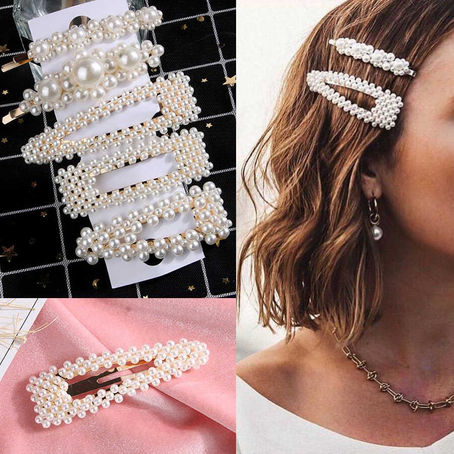 1//2//3 pcs Pearl Hair Clip 4cm Korea Clasp Barrette Hairpin Crystal Gold Tone Pin