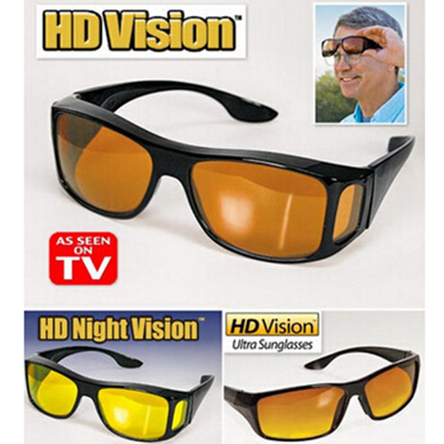 New HD Vision Glasses Over Wrap Arounds Sunglasses Men Night Driving UV400 Protective Eyewear Goggles Driver Safety Sun Glasses