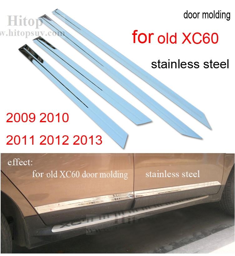fa91a147af0f Двери формовочная отделка тела боковой молдинг для Volvo XC60 2009-2017,  нержавеющая сталь или ABS хром, 4 шт. компл., 2009-2013 или 2014-2017