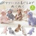 Recién nacidos Bebés Infantiles de la Ropa Del Bebé de Lana de Invierno Niño Conejo ClothingRomper Meninas Oso Abajo Snowsuit Pink Mono Azul