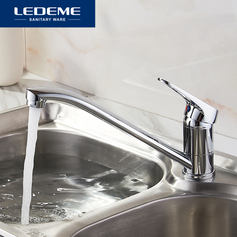 LEDEME Single Handle Kitchen Faucet Brass Deck Mounted Swivel 360 Degree Water Tap Kitchen Sink Faucets Robinet Cuisine New black pearl marble stone polished brass swivel kitchen sink faucet 360 degree rotating deck mounted cuisine mixer tap torneira