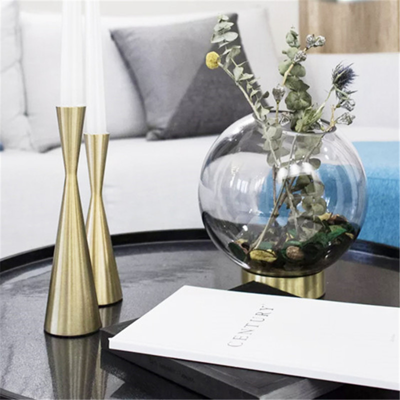 MRZOOT Creative American European gold metal candlestick home decoration accessories modern table