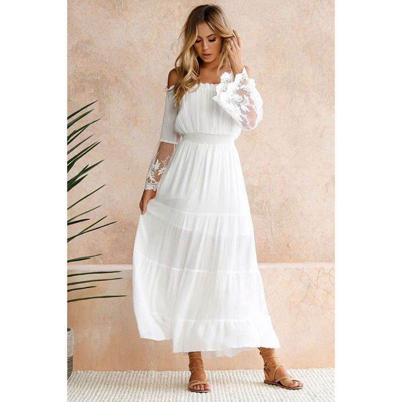 Moonbiffy Summer Sundress Long Women White Beach Dress Strapless Long Sleeve Loose Sexy Off Shoulder Lace Boho Cotton Maxi Dress