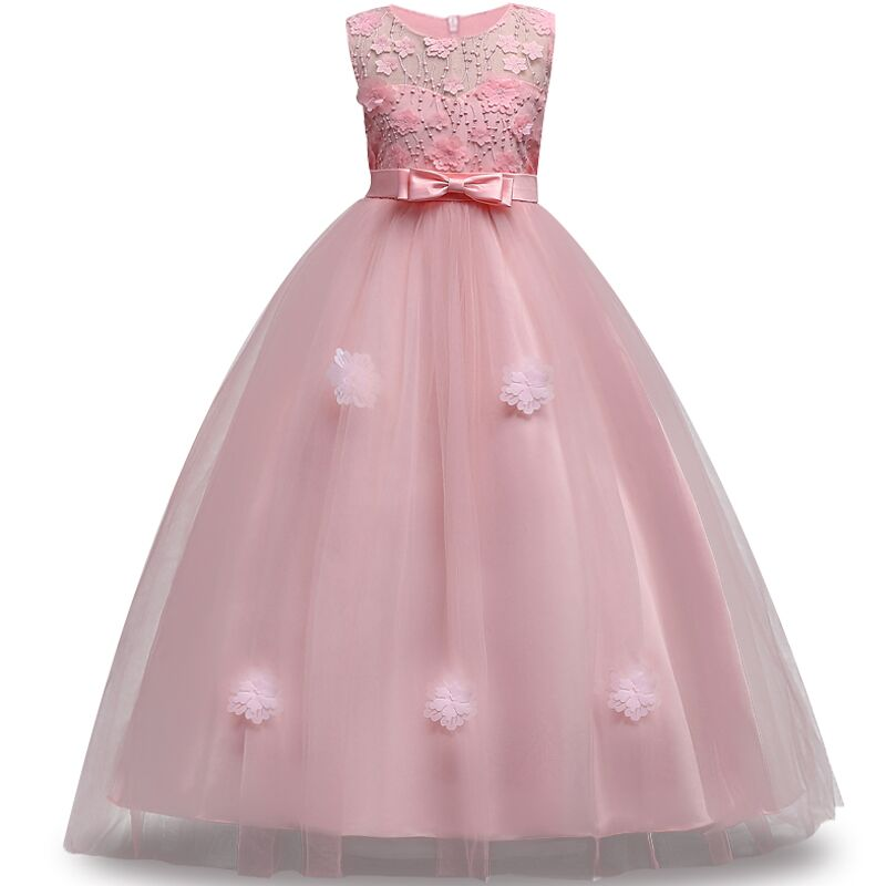 Dresses For Girls Clothes 2018 Summer Girls Dress Gown Kids Wedding Party Dress embroidery Children Clothing Princess Vestidos ball gown dresses princess vest lace dress 2017 summer new children lovely clothes girls strap voile dress embroidery and bead