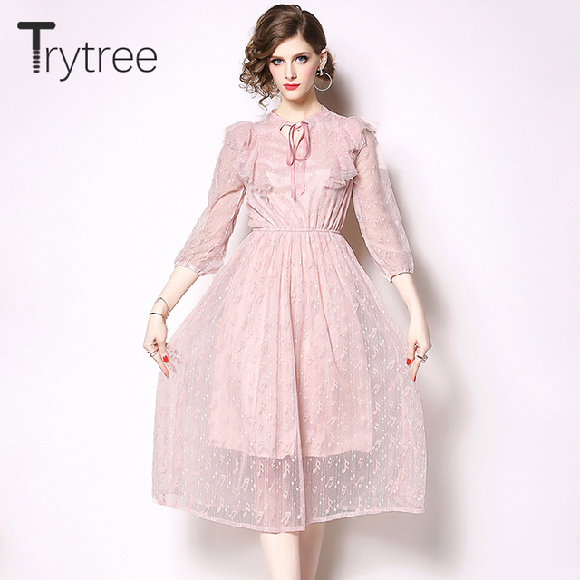 2301c89bb91caf Trytree Frühling Sommer Kleid Elegante Spitze frauen Rosa Bogen Kragen  Rüschen kleider A Line Mitte Der Wade Casual